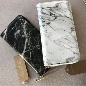 Marble wallet in black or white